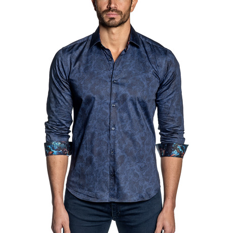 Russel Button-Up // Navy Paisley (S)
