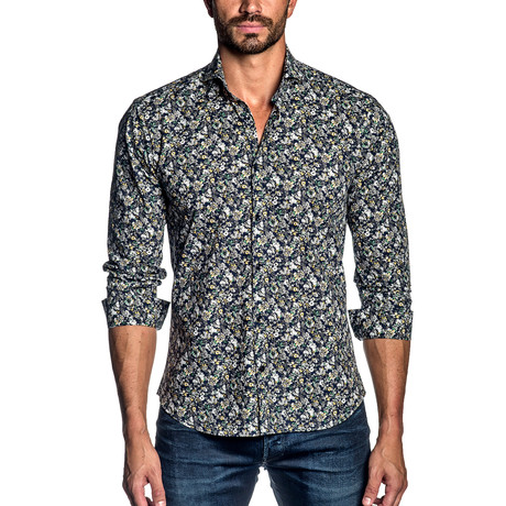 Long-Sleeve Shirt // Navy Mini Paisley (S)