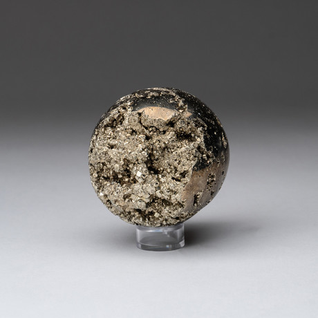 Pyrite Sphere + Acrylic Display Stand