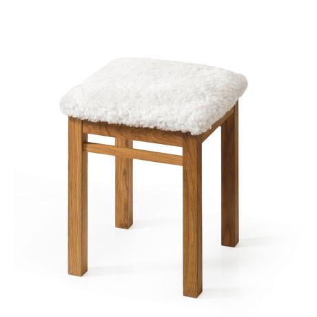Hugo Stool + White Sheepskin Seat