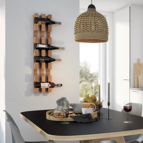 Wall Mounted Solid Wood Wine Bottle Rack // 6 Bottles (Black Steel Mounting)