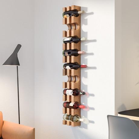 Wall Mounted Solid Wood Wine Bottle Rack // 9 Bottles (Silver Steel Mounting)