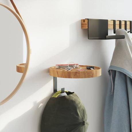Woody 1 Wall Mounted Coat Rack + Shelf