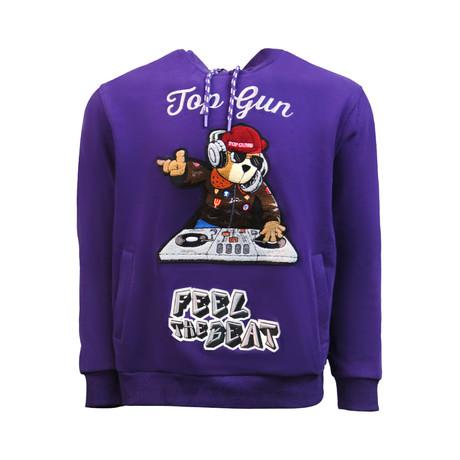 Dj Bear Hoodie // Purple (S)