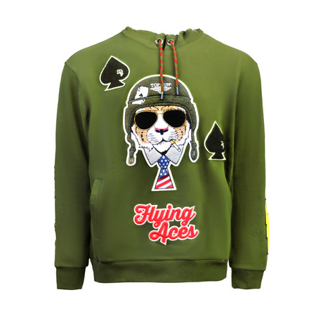Flying Aces Hoodie // Olive (S)