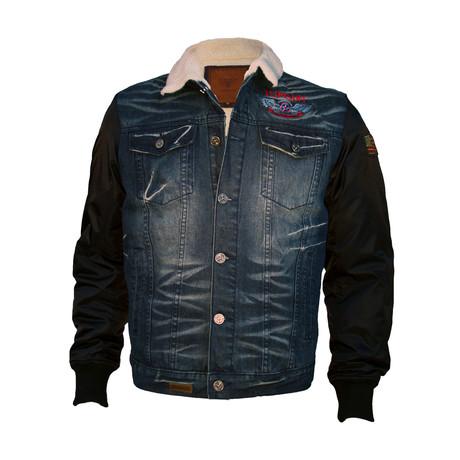 Sherpa Lined Denim-Nylon Jacket // Blue (S)