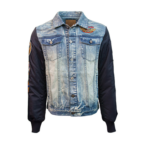 Denim-Nylon Bear Jacket // Blue (S)