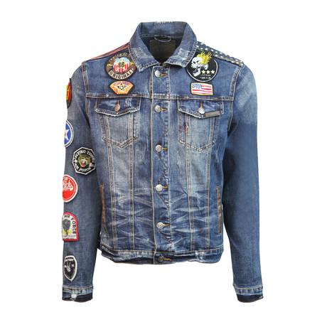 Denim Leopard Jacket // Blue (S)