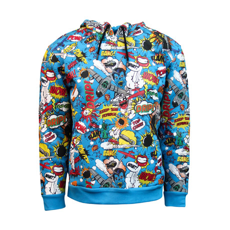 Comics Pull-Over Hoodie // Multicolor (S)
