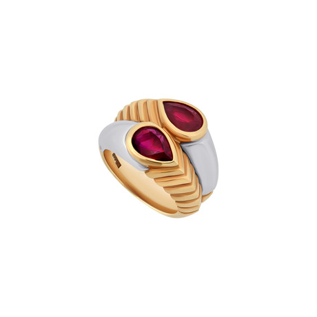 Bulgari 18k Two-Tone Gold Ruby Spiga Ring // Ring Size: 5.75 // Pre-Owned