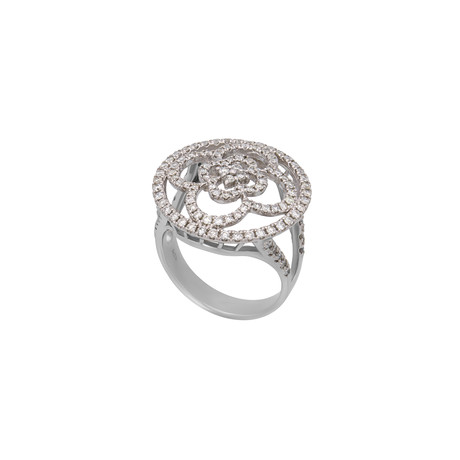 Estate Platinum Diamond Flower Ring // Ring Size: 6.5 // Pre-Owned