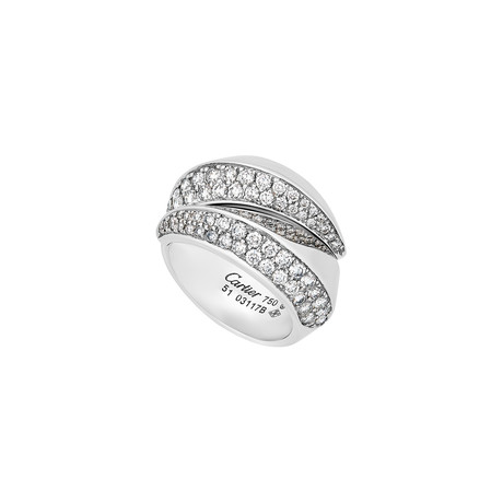 Cartier 18k White Gold Panthere Glyph Diamond Ring // Ring Size: 5.75 // Pre-Owned