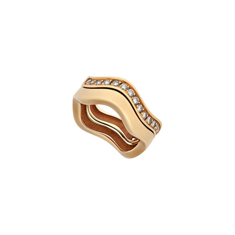 Cartier 18k Yellow Gold Diamond Double Wave Ring // Ring Size: 5.25 // Pre-Owned