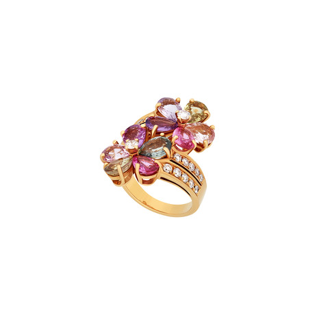 Bulgari 18k Yellow Gold Sapphire + Diamond Ring // Ring Size: 6.75 // Pre-Owned