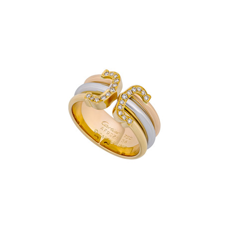 Cartier 18k Three-Tone Gold Double C Diamond Ring // Ring Size: 5.25 // Pre-Owned