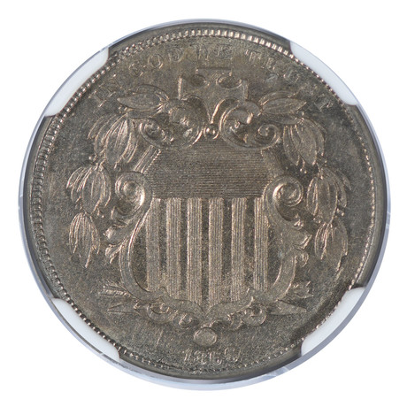 1866 Shield Nickel, With Rays, NGC Certified AU58