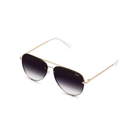 Unisex High Key Rimless Sunglasses // Gold