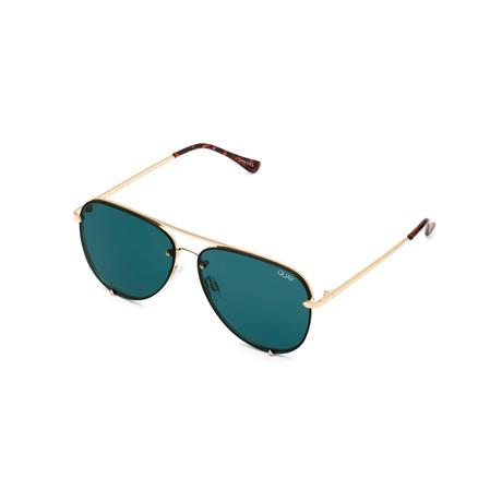 Unisex High Key Rimless Sunglasses // Gold + Teal