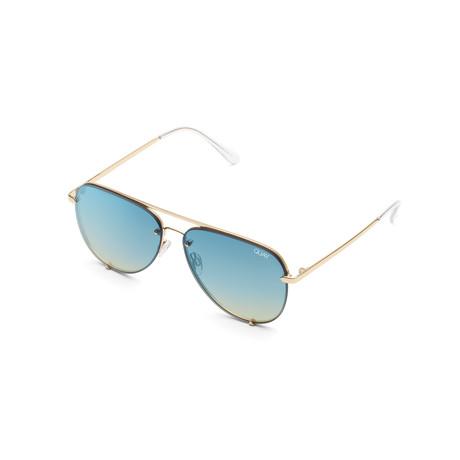 Unisex High Key Rimless Sunglasses // Gold + Blue