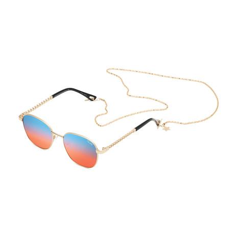 Unisex Link Up Polarized Sunglasses // Gold + Blue + Red