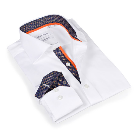 Connor Button-Up Shirt // White + Navy (S)