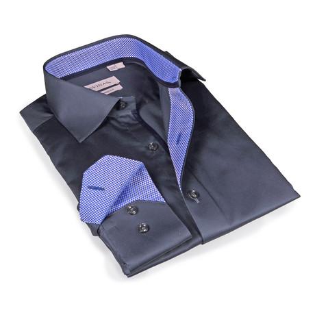 Sawyer Button-Up Shirt // Charcoal + Blue (S)