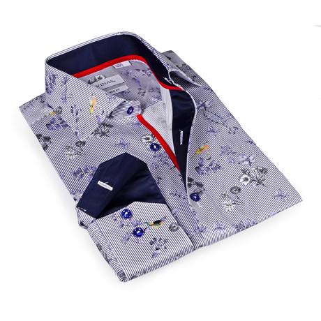 Cooper Print Button-Up Shirt // Blue + White (S)