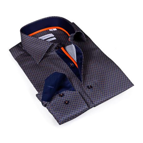 Jace Button-Up Shirt // Navy + Brown (S)