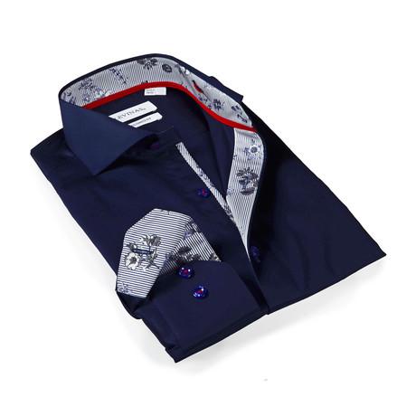 Everett Print Button-Up Shirt // Navy (S)