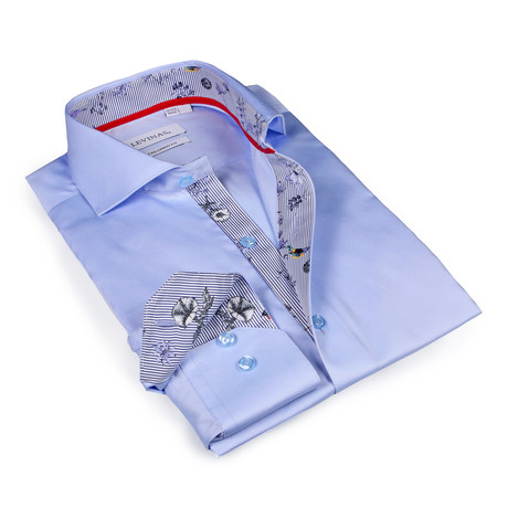 Kayden Print Button-Up Shirt // Light Blue (S)