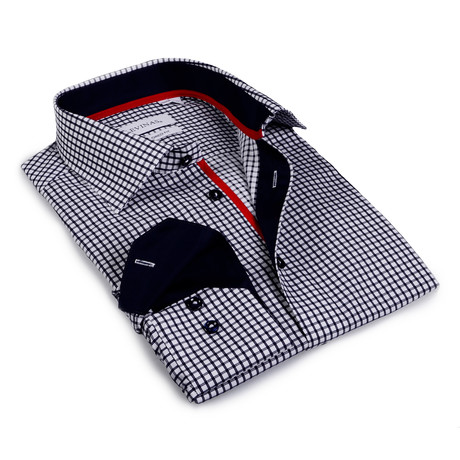 Roman Checkered Button-Up Shirt // Black + White (S)