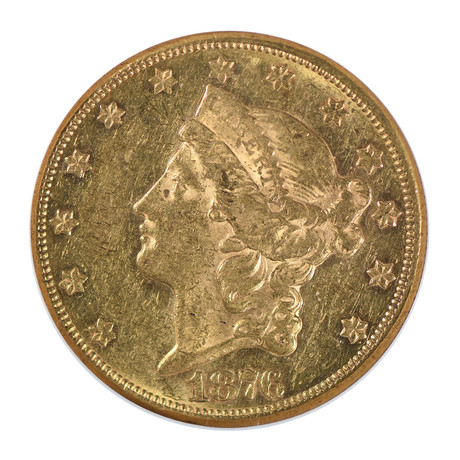 1876-CC Liberty Head $20 Gold Piece, Type 2, NGC Certified AU58