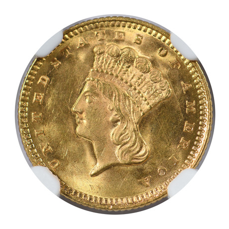 1873 Indian Princess $1 Gold Piece, Open 3, NGC & CAC Certified MS64