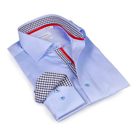Leonardo Checkered Button-Up Shirt // Light Blue (S)