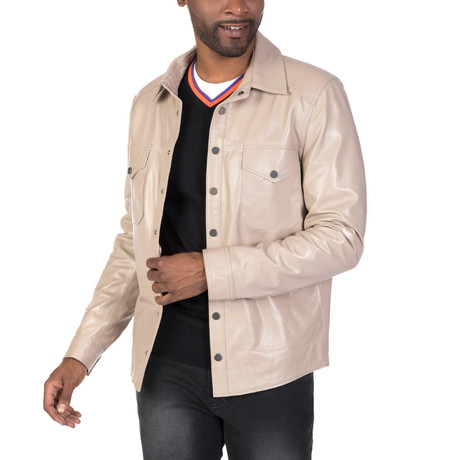 Madison Leather Jacket // Beige (S)