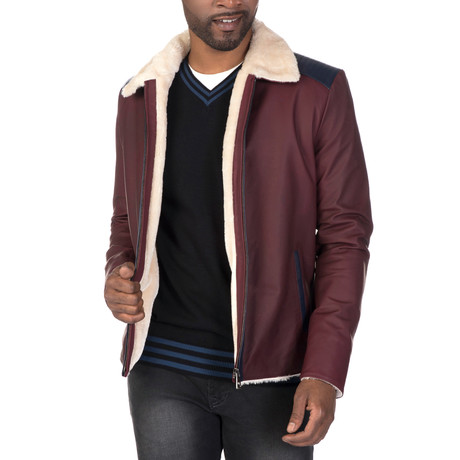 Christopher Leather Jacket // Bordeaux + Navy (S)