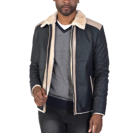 Forsyth Leather Jacket // Navy + Beige (S)