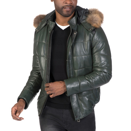 Mosholu Leather Jacket // Green (S)