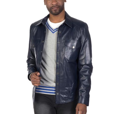 Bowery Leather Jacket // Navy (S)
