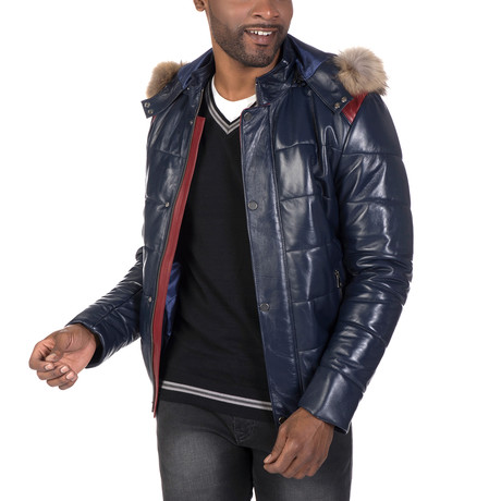 Irving Leather Jacket // Navy (S)