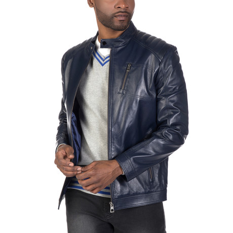 Canal Leather Jacket // Navy (S)