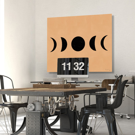 "Moon Phases (Black) (Neutral) // High Gloss Panel (12""W x 15""H x 0.5""D)"