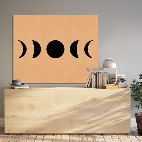 "Moon Phases (Black) (Neutral) // Canvas (12""W x 15""H x 2""D)"
