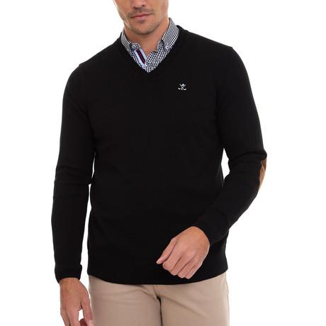 Vargo V-Neck Pullover + Arm Patch // Black + Gray (S)