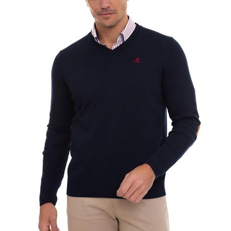 Vargo V-Neck Pullover + Arm Patch // Navy + Red (S)
