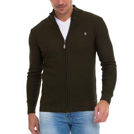 Everest Full Zip Sweater // Emerald Khaki (S)
