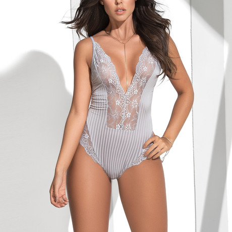 Lace Body Suit // Gray (S)