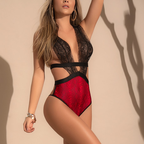 Lace Bodysuit // Black + Red Snake (S-M)