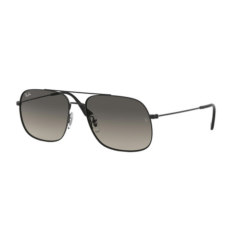 Men's Square Aviator Sunglasses // Black + Gray Gradient