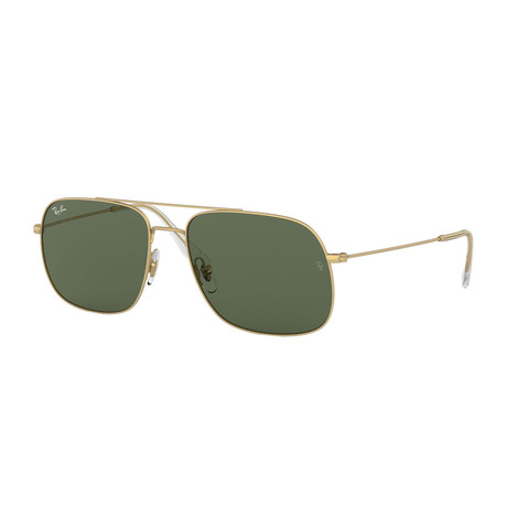Men's Square Aviator Sunglasses // Gold + Green